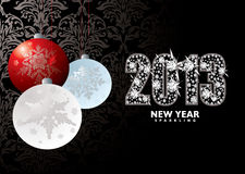 Christmas new year 2013. Christmas background with baubles xmas balls and happy new year 2013 Royalty Free Stock Photography