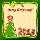 Christmas and New Year 2013 greeting card. With snake Stock Image
