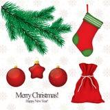Christmas & New Year. Set of Christmas symbols for design stock illustration