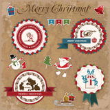 Christmas and New Year. Set of vector decorative items, antique and vintage jewelry, banners, stamps, stickers, with snowflakes and stars design. Santa Claus Royalty Free Stock Photos