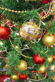 Christmas and New Year. Christmas tree decorations with red and golden ornaments,photography Royalty Free Stock Image