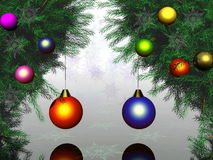 Christmas And New Year 3D. Domestic ornament of a celebratory fur-tree before christmas or new year Royalty Free Stock Photo