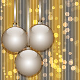Christmas and New Year abstract background. With hanging glossy balls and bokeh lights vector illustration