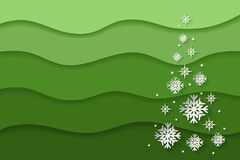 Christmas and New Year abstract background with paper snowflakes stock photo