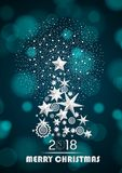 Christmas and New Year 2018 abstract with Christmas Tree made of stars and snowflakes with firework Stock Images