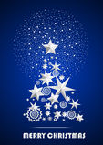 Christmas and New Year abstract with Christmas Tree made of stars and snowflakes with firework. On dark blue ambient background. Vector illustration Royalty Free Illustration