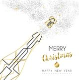 Christmas and New Year abstract gold line bottle Vector Illustration