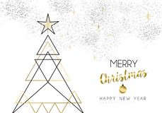 Christmas and New Year abstract gold line tree Royalty Free Illustration