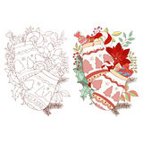 Christmas and New Year adult drawing of gloves royalty free illustration