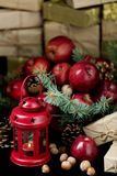 Christmas and New year. Apples with pine cones and nuts in a bas Stock Photos
