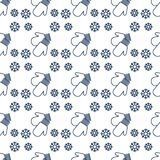 Christmas New Year 2019 backdrop Mittens snowflake. Vector winter seamless pattern with snowflakes, mittens. Christmas and New Year 2019 background. Design for Stock Illustration
