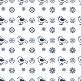 Christmas, New Year 2019 backdrop. Snowflake, bird. Vector seamless pattern with snowflakes and birds. Christmas and New Year 2019 background. Design for Stock Illustration