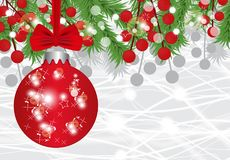 Christmas and New Year background with ball, fir branches and red berries. Vector Stock Photography