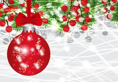 Christmas and New Year background with ball, fir branches and red berries. Vector. Illustration Stock Photos