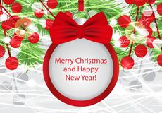 Christmas and New Year background with ball, fir branches and red berries. Vector. Illustration Stock Image