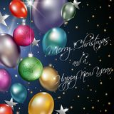 Christmas and new year background with balloons and baubles.  Royalty Free Stock Photo