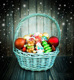 Christmas or New Year background with basket royalty free stock photo