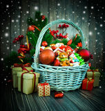 Christmas or New Year background with basket stock image