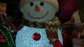 Christmas New Year Background 6. This is a beautiful New Year 2016 and Christmas Background video of lighting blurring Snowman and holiday lights, flares… stock video