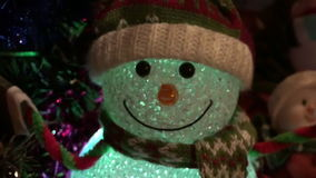Christmas New Year Background 5. This is a beautiful New Year 2016 and Christmas Background video of lighting blurring Snowman and holiday lights, flares… stock video footage