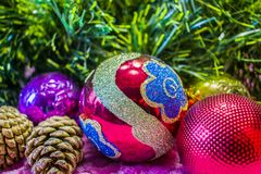 Christmas, New Year background. Behind the Christmas tree, red glass balls and cones, decorations on a pink background Royalty Free Stock Image
