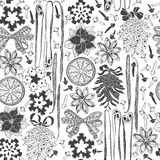 Christmas and New Year  background. Black and white seamle Royalty Free Stock Photography