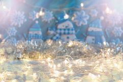 Christmas and New Year background in blue and silver colors royalty free stock photo