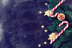 Christmas, new year background, candy, spruce branches, stars on Stock Image