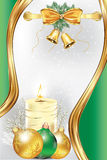 Christmas and New Year background card. Christmas and New Year golden green greeting card. Contains elegant ribbon, pine tree branches and Christmas baubles Royalty Free Stock Image