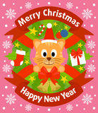 Christmas and New Year background with cat Stock Photography