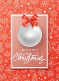 Christmas and New Year background. For holiday greeting card, invitation, party flyer, poster, banner. Silver ball, red bow, frame Royalty Free Stock Image