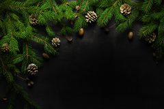 Christmas and New Year background. Christmas tree branch on a black background. Cones and fur-tree toys. View from above.