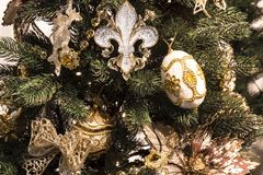 Christmas and New Year background. Christmas tree decorated for Royalty Free Stock Photo
