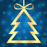 Christmas and New Year background with Christmas tree and snowfl Royalty Free Stock Photo