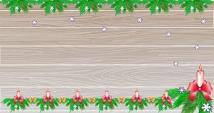 Christmas or New Year background, copy space. Light wooden boards decorated with fir, candle and ribbon garlands, snowflakes. Background for advertising, sales stock illustration
