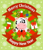 Christmas and New Year background with cow. Christmas and New Year background card with cow Royalty Free Stock Images