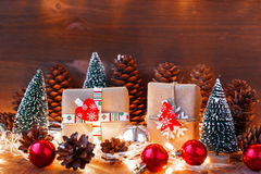 Christmas and New Year background with decorations, fir trees, presents Stock Image