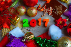 Christmas and New Year Background With Decorations Stock Photo