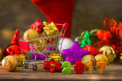 Christmas and New Year Background With Decorations Stock Photos
