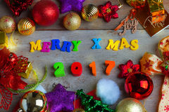 Christmas and New Year Background With Decorations Stock Image