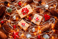 Christmas and New Year background with decorations and light bulbs Royalty Free Stock Photography