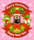 Christmas and New Year background with deer Royalty Free Stock Images