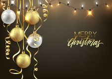 Christmas and New Year background design, decorative balls with. Shiny lights and confetti, vector illustration vector illustration