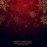 Christmas and New Year background with falling gold snowflakes. Vector.  Royalty Free Stock Photography