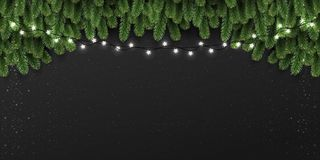 Christmas and New Year background with fir branches, lights, Xmas decorations glowing white garlands. Christmas theme. Vector Illustration stock illustration
