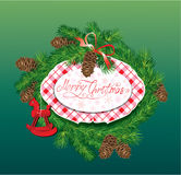 Christmas and New Year background - fir tree branc. Hes, pine cones and horse toy - oval frame Royalty Free Stock Image