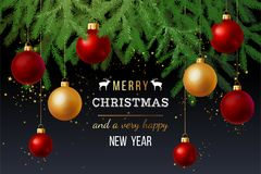 Christmas and New Year card. Christmas and New Year background with fir-tree branches and gold and red balls Royalty Free Stock Images