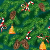 Christmas and New Year background - fir tree textu. Re with xmas accessories - seamless pattern Stock Photo