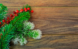 Christmas or New Year background: fur-tree, branches, colored glass balls and toys, gifts, decoration on a white Royalty Free Stock Images