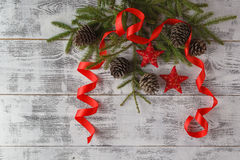 Christmas or New Year background: fur-tree branches, decoration Royalty Free Stock Image